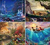 Ceaco (4) 500 Piece Thomas Kinkade - Disney Dreams 4 in 1 Multipack Jigsaw Puzzle - Cinderella, The Lion King, Mickey and Minnie Mouse, and The Little Mermaid - Ages Kids and Adults
