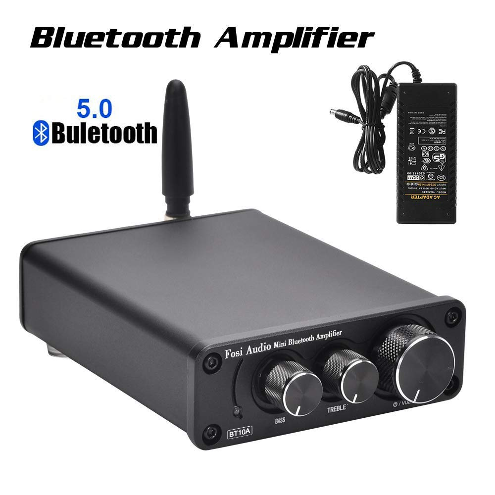 Bluetooth 5.0 Stereo Audio Amplifier Receiver 2 Channel Class D Mini Hi-Fi Integrated Amp for Home Speakers 50W x 2 TPA3116 - Fosi Audio BT10A by Fosi Audio