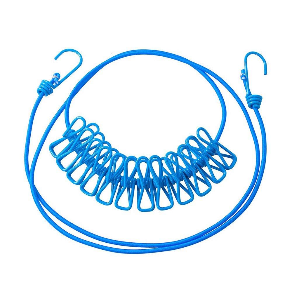 Tong Yue 旅行用洗濯ばさみ ポータブル 伸縮自在 調節可能 防風 伸縮性 衣類用ロープ 洗濯バサミ12個付き 屋外屋内用 ブルー B07H6ZDWHC