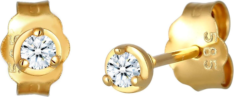 DIAMORE Pendientes DIAMORE - Pendientes solitarios básicos para mujer con cierre a presión y diamante (0,06quilates), fabricados en oro amarillo de 585
