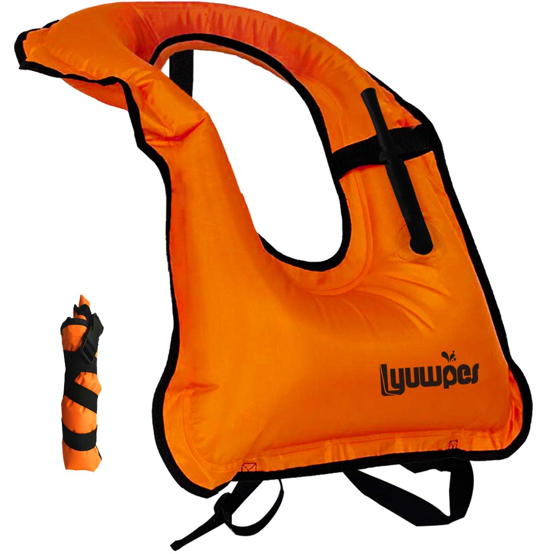 Lyuwpes Snorkel Vest Inflatable Adult Snorkeling Jackets Free Diving Swimming Safety Load Up to 220 Ibs Orange