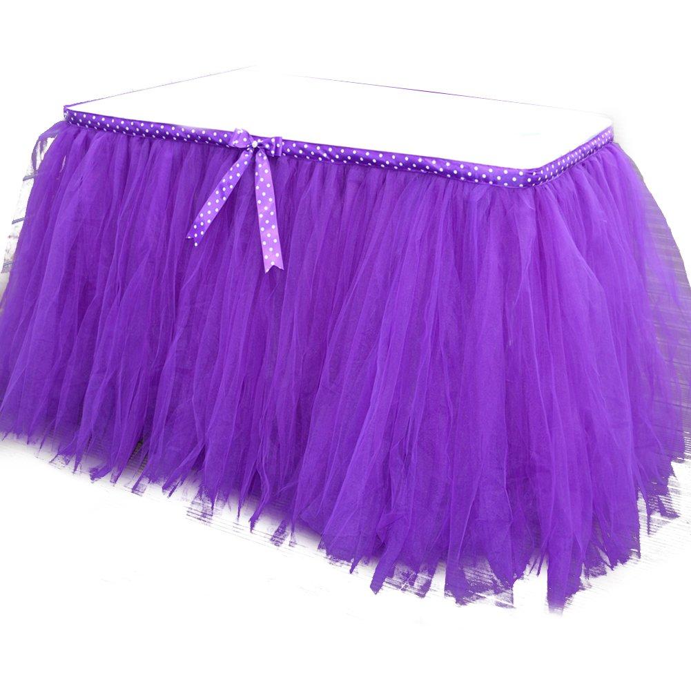 jingxu boda tutú de tul falda de mesa mesa tocador para cumpleaños Baby Shower vajilla bailarina decoración, Morado, 36 x 31 inch