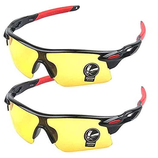 ab44c7ce3991 Polarized Sports Sunglasses Glare UV400 Protection HD Night Vision for  Motorcycle Riding Glasses (2 PACK