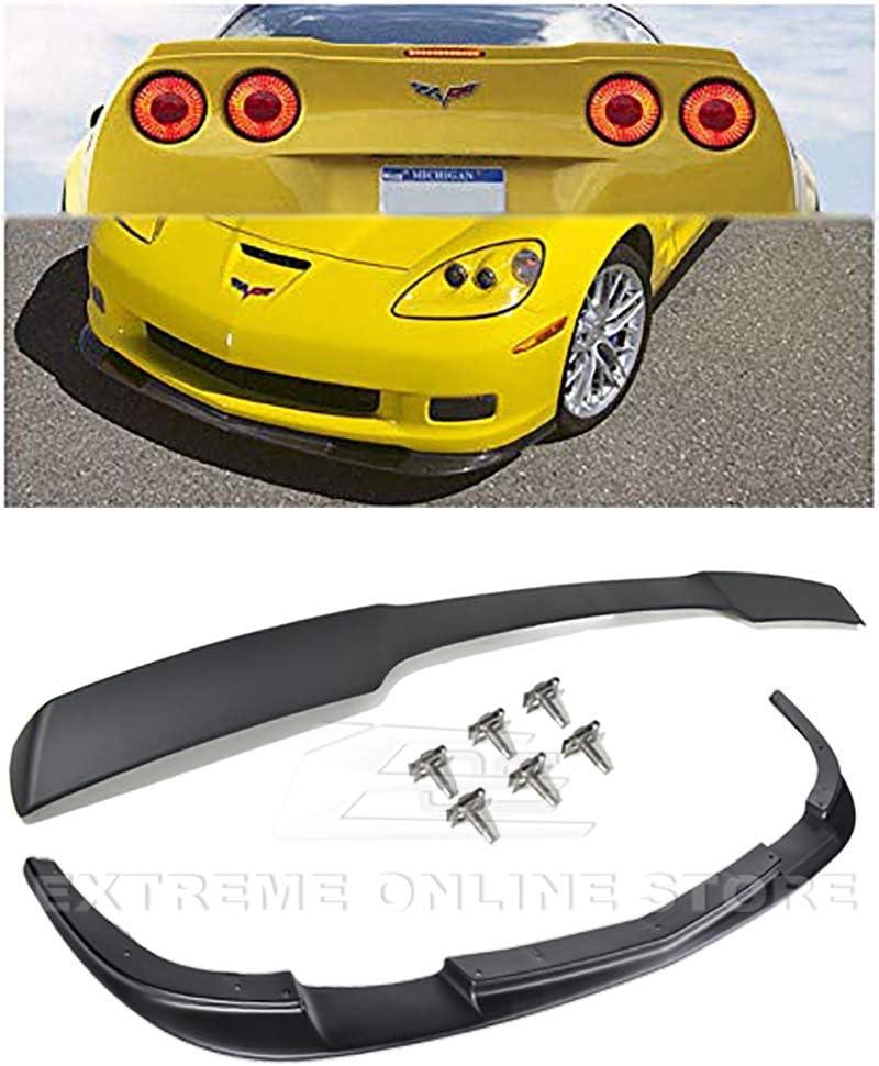 For 2005-2013 Chevrolet Corvette C6 Z06 Grand Sport EOS ZR1 Style ABS Plastic PRIMER BLACK Front Bumper Lower Lip Splitter /& Painted Matte Black Rear Wing Spoiler