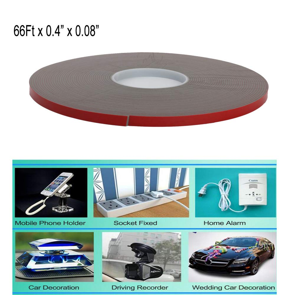 20M/66Ft Heavy Duty Mounting Adhesive Tape Double-Sided Foam Tape VHB Waterproof Tape for Home Decoration, Office Decoration, LED Strip Lights (66Ft x 0.4'' x 0.08'')