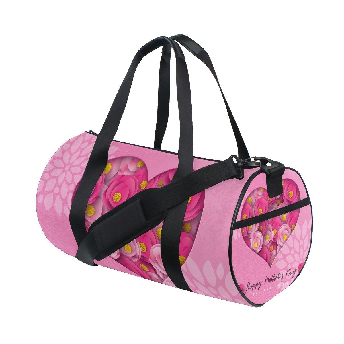 U LIFE Happy Mothers Day Floral Flowers Love Heart Sports Gym Shoulder Handy Duffel Bags for Women Men Kids Boys Girls