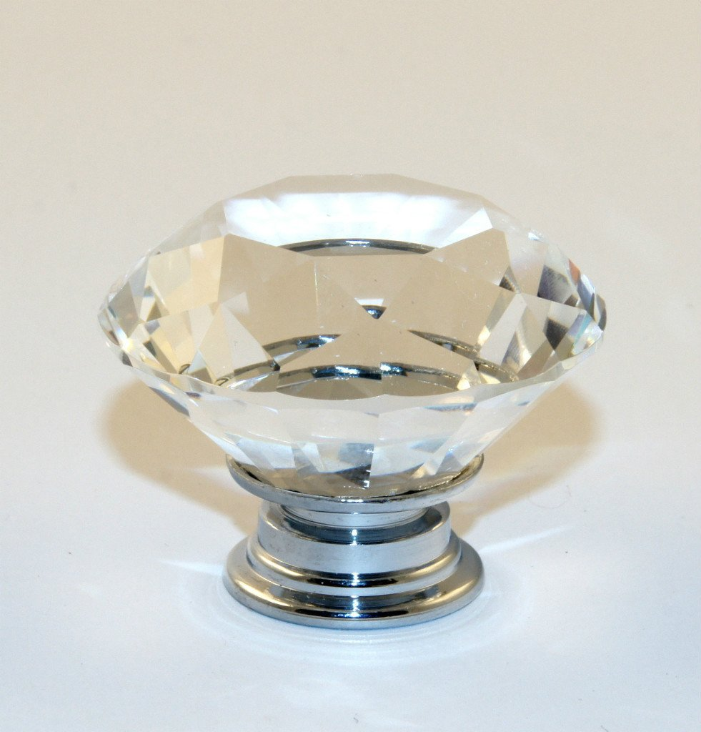 1 x Crystal Glass Clear Door Knobs / Handles *Florence* 40mm Handle ...