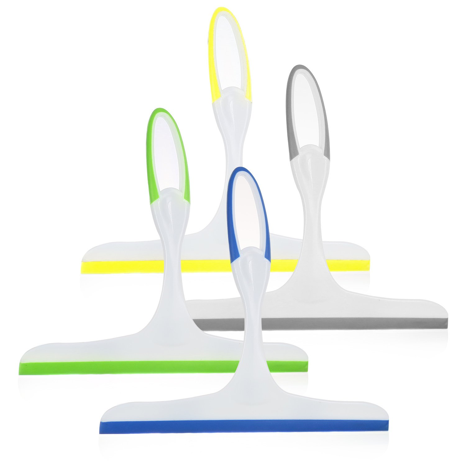 Rubber Squeegees Pack Of 4: Streak-Free Handheld Squeegee Cleaner With 9.5'' Silicone Blade & Hanging Hole - Wiper Cleaning Tool For Washing Shower Door, Bathroom, Kitchen, Glass, Car Windshield And Ou