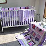 NAUGHTYBOSS Girl Baby Bedding Set Cotton 3D Embroidery Elephant Owl Quilt Bumper Bedskirt Mattress Cover Blanket 8 Pieces Set Purple Color
