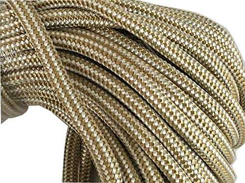 """3/8"""" Gold Braid Double Braided Nylon Anchor/Dock Line Rope, Available in 50"""