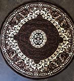 Traditional Round Persian Area Rug Brown Americana Design 101 (7 Feet 3 Inch X 7 Feet 3 inch)