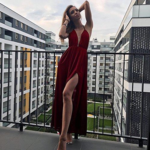 Dubach Des Femmes De Fines Bretelles En Mousseline De Soie Col V Profond Vin De Haute Fente Robe De Plage Maxi Rouge