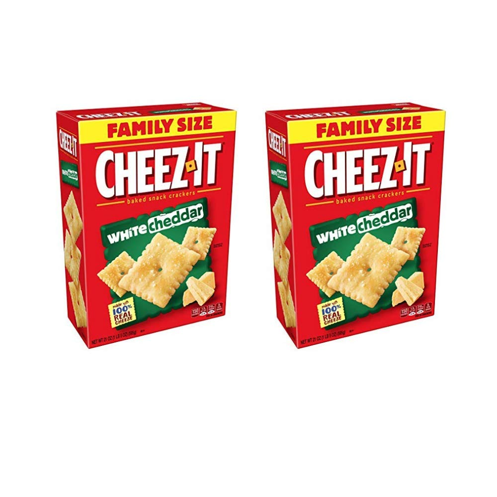 Cheez-It Baked Snack Cheese Crackers, White Cheddar, Family Size, 21 oz Box - Pack of 2 by Cheez-It
