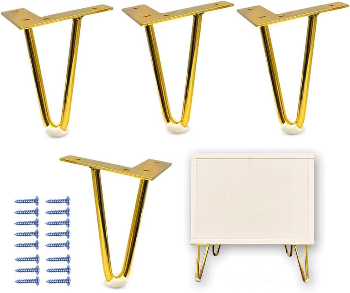 Gambe per Tavolo Forma,CHENKEE 4 pezzi Piedi per Mobili Forcina Gambe Piedini per Tavolo Tavolo in Metallo fai-da-te per uso Pesante con Protezioni per il Pavimento e viti Perfetto per Tavolino