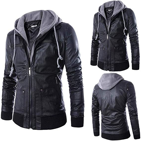 Yuxikong Mens Leather Autumn&Winter Jacket Biker Motorcycle Zipper Outwear Warm Coat at Amazon Mens Clothing store: