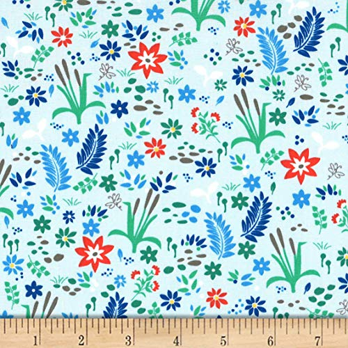 Michael Miller Goat Island Cattail Meadow Fabric, Sky, Fabric By The Yard