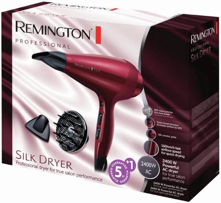 Remington AC9096 Sèche Cheveux Ionique 2400W Silk, Grille Céramique, Moteur AC Professionnel, Fonction turbo