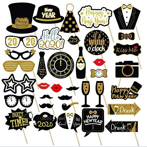Losuya 2020 Nouvel an Parti Photo Booth Props 36pcs DIY Kit Masques Chapeau De Moustache pour 2020 Nouvel an D/écoration de Partie