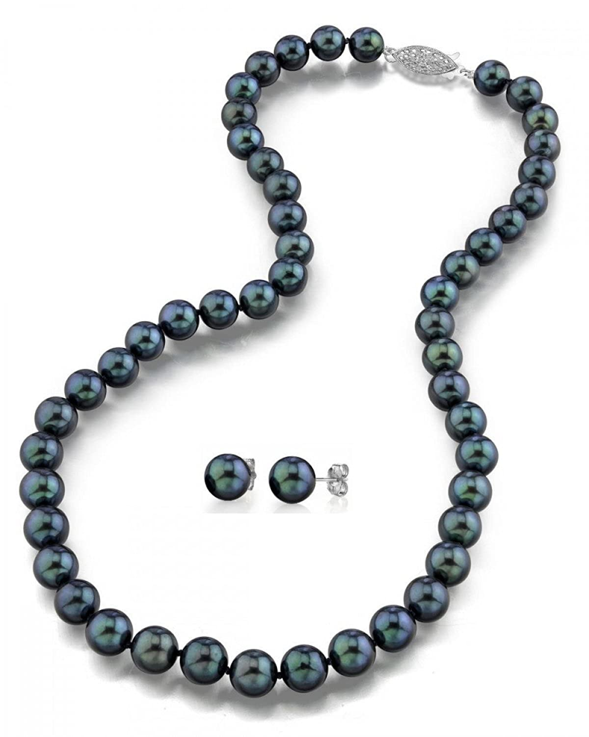 "14K Gold 6.5-7.0mm Black Akoya Cultured Pearl Necklace & Earrings Set, 17"" Length- AAA Quality"