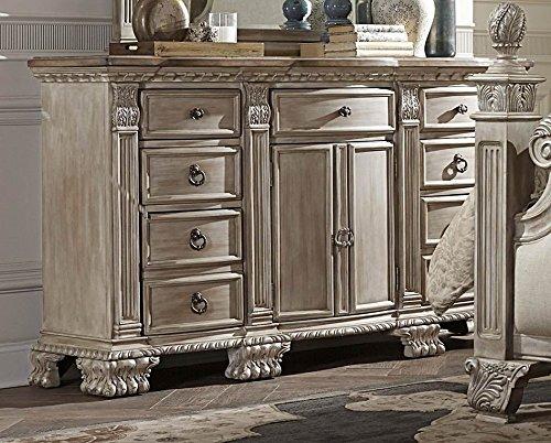 White Washed Upholstered Bedroom Furniture (Dresser)