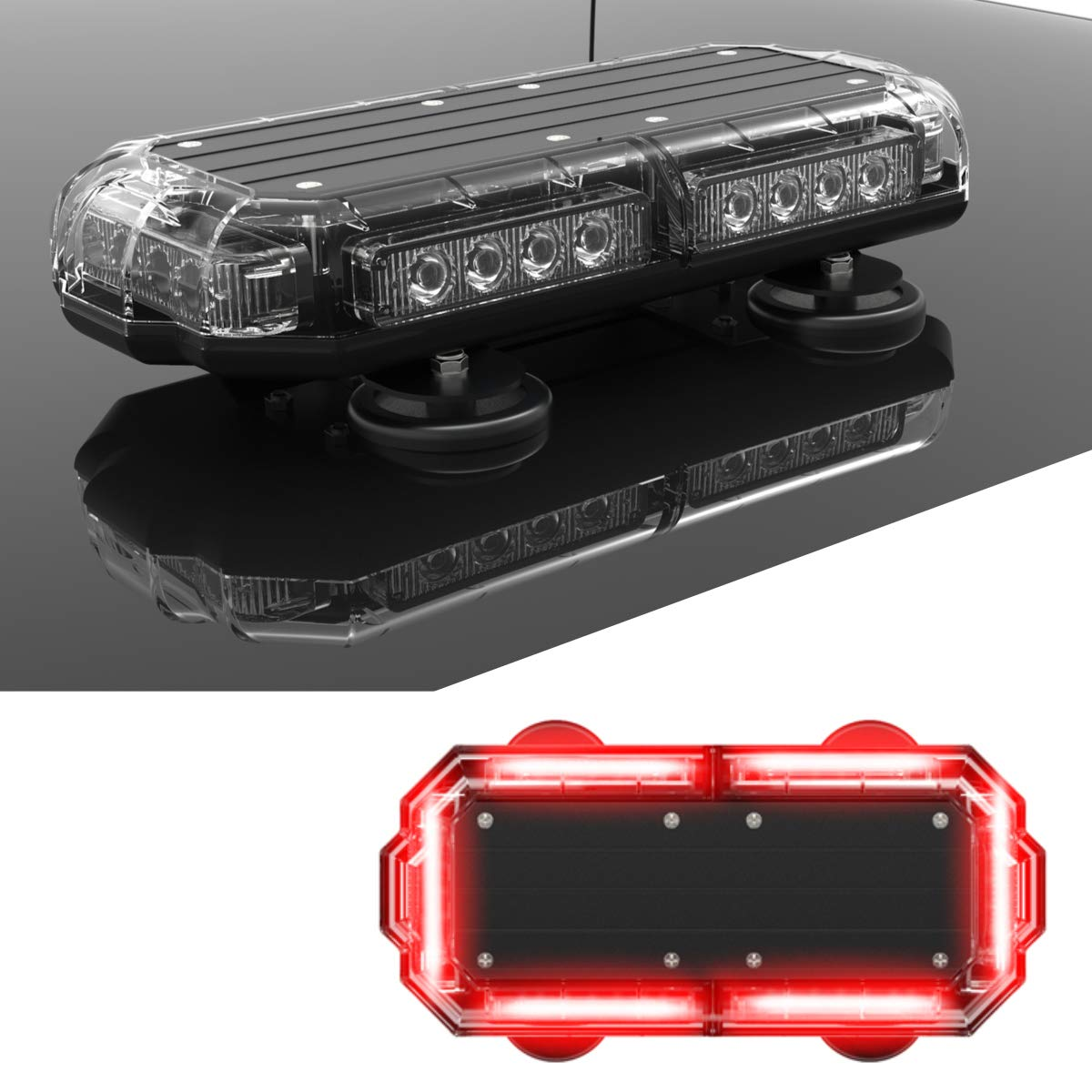 SpeedTech Lights Mini 14'' 72 Watts LED Strobe Lights for Trucks, Cars, Plows, and Emergency Vehicles with Magnetic Roof Mount in Red/Red