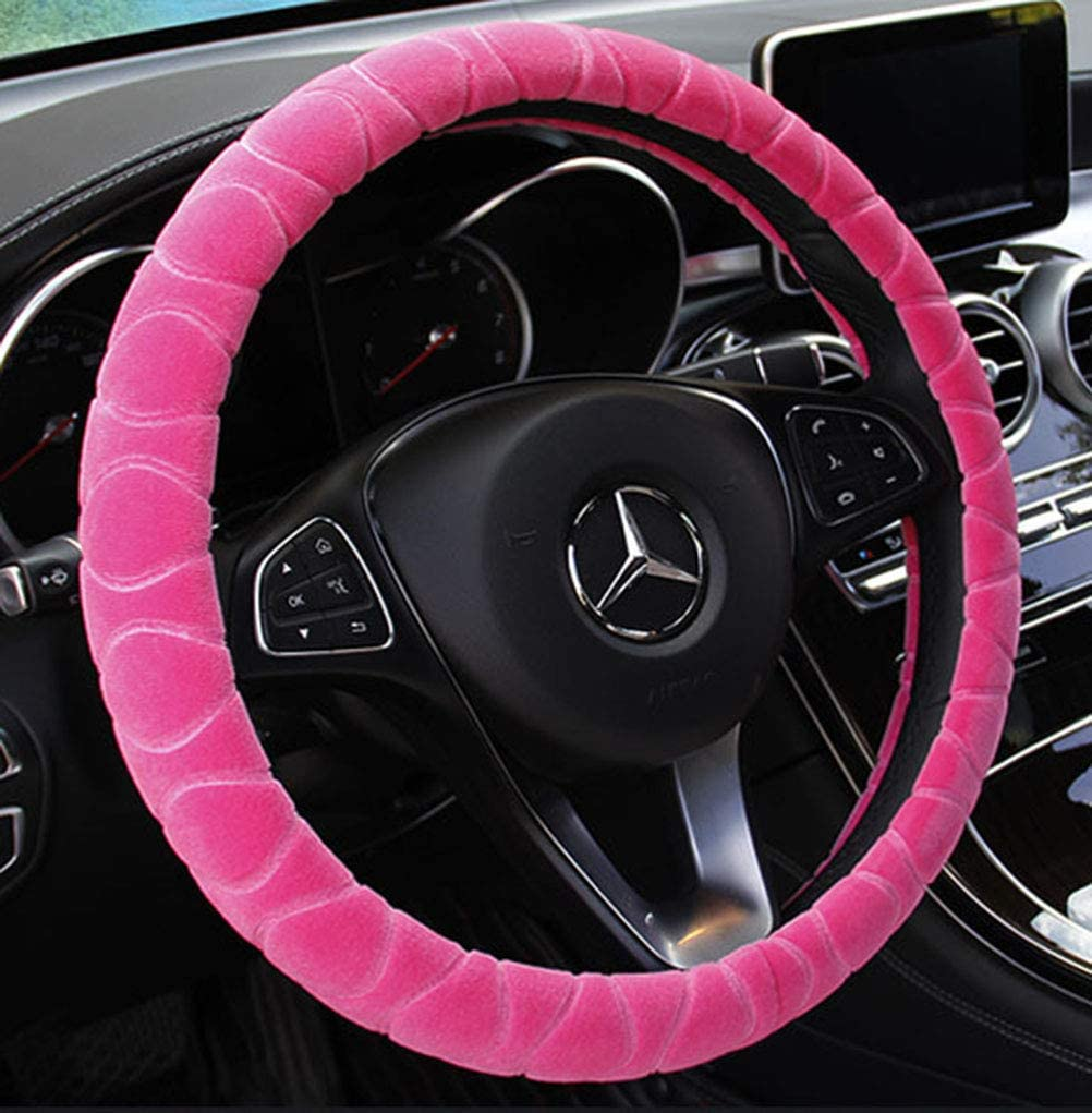 Mayco Bell Steering Wheel Cover Faux Fur Winter Warm Steering Wheel Wrap Fits Most Car 37cm 38cm Size Interior Accessories Coffee