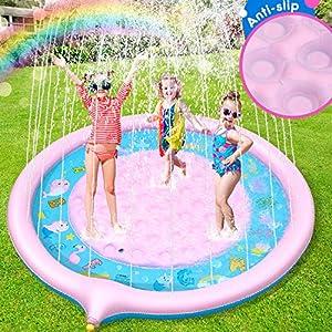 Jojoin Tappetino Gioco d'Acqua per Bambini Antiscivolo Aggiornato, 68in/172cm Splash Play Mat Gioco di Spruzzi d'Acqua… 2 spesavip