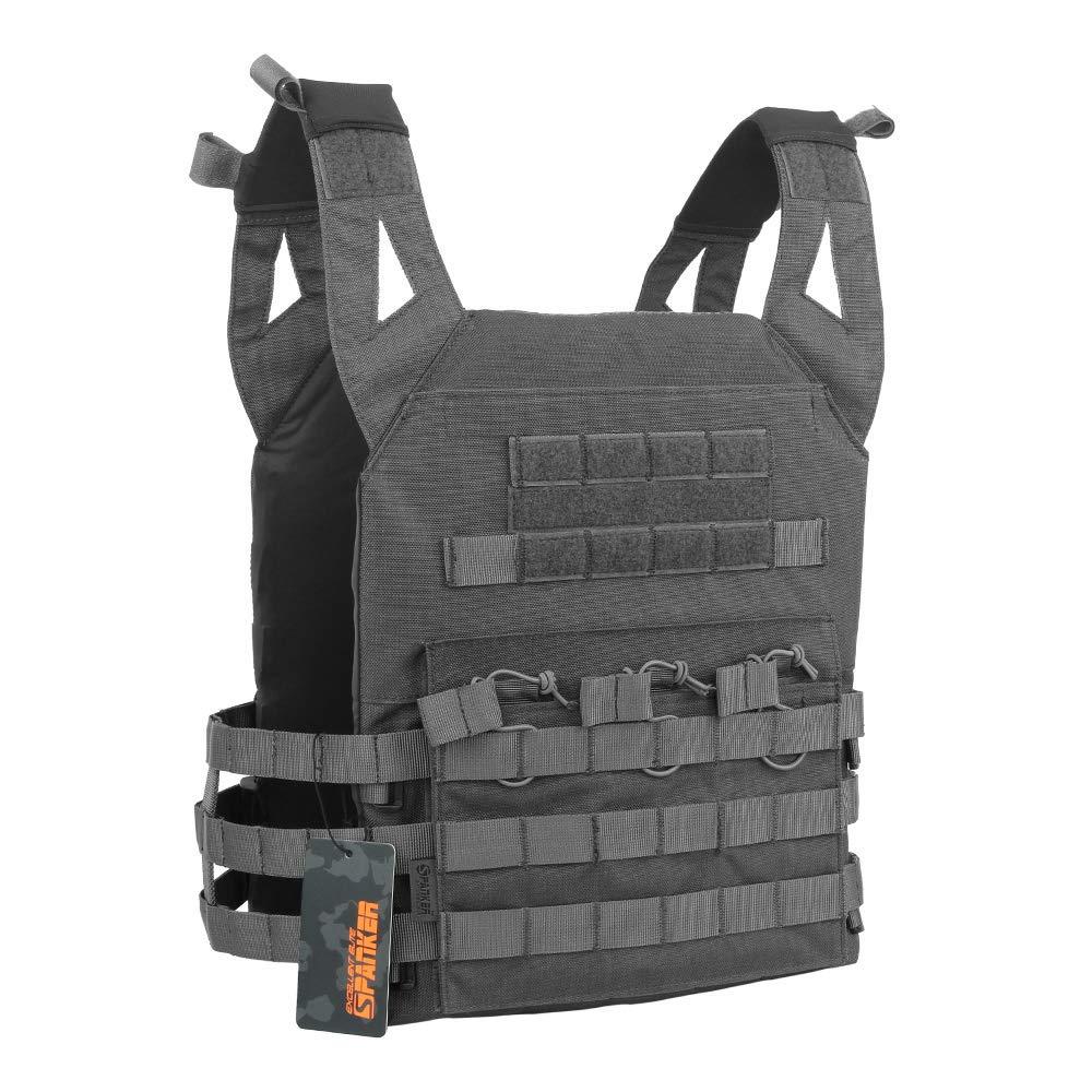 EXCELLENT ELITE SPANKER Tactical Airsoft Vest Outdoor Molle Child Small JPG Vest Game Protective Vest Modular Chest Set Vest for Fun-Children Version(Grey)