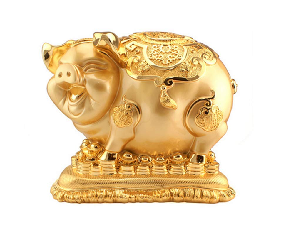 CFJKN Feng Shui Decor, Chinese Oriental Lucky Fortune Wealth Zodiac Twelve Animals 2019 New Year Pig Statues Lucky Fortune Wealth Collectible,Gold_29x18x26cm/11x7x10inch