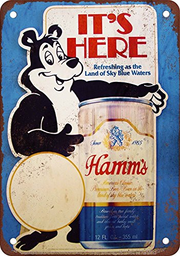 (Hamm's Beer Bear Vintage Look Reproduction Metal Tin Sign 12X18 Inches )