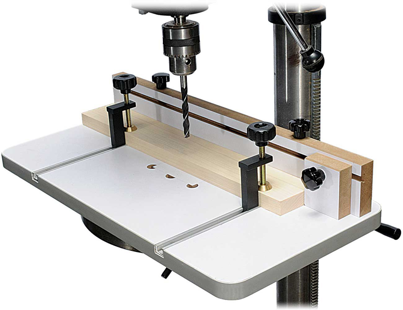 MLCS 2326 Drill Press Table and Fence with T-Track Hold Downs Included