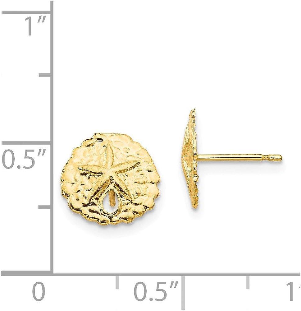 14k Sand Dollar Post Earrings in 14k Yellow Gold