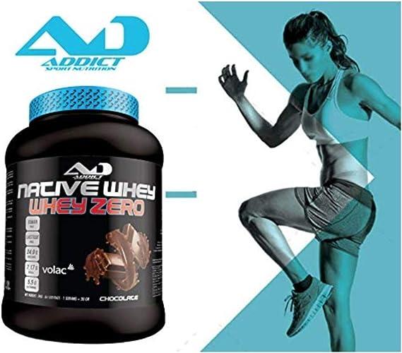 ADDICT SPORT NUTRITION AD - Proteína - Native Whey Zero - 100% Proteína nativa - 2 Kilos - Sabor chocolate