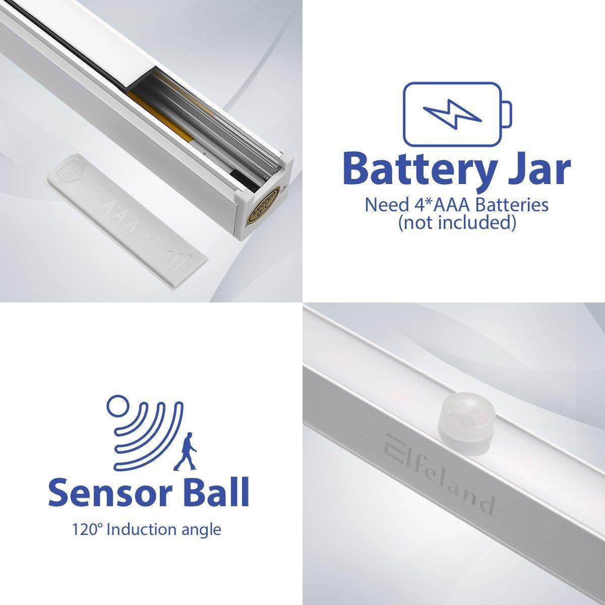 Sensor de movimiento luz nocturna, elfeland 32 LED Dual Color conmutable (Pure £ Š cálido blanco) inalámbrico activado por movimiento y armario lámpara, ...