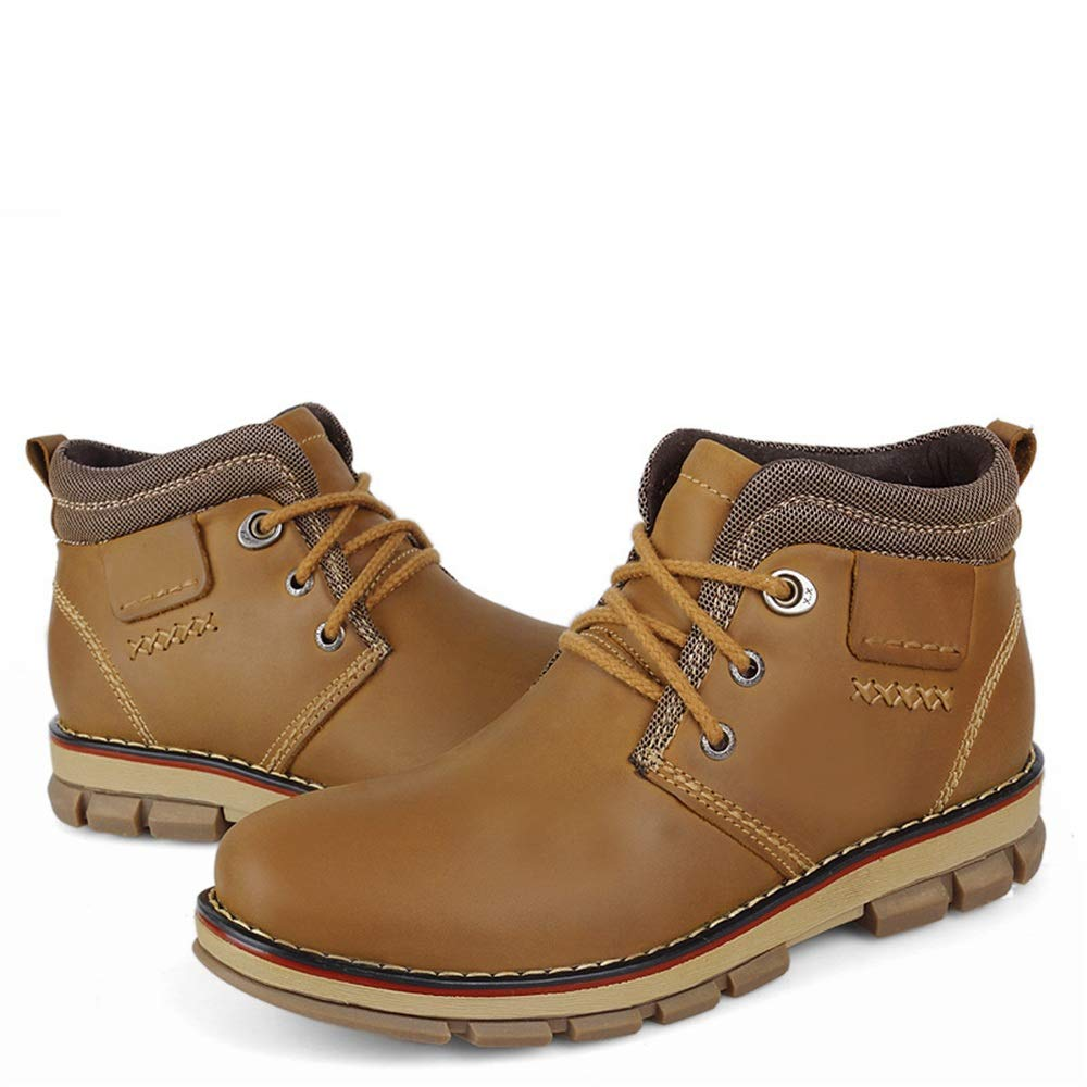 Light Brown Shuo lan Men's Fashion Ankle Work Boot Casual and Fleece Lined Warm Outsole High Top Boots