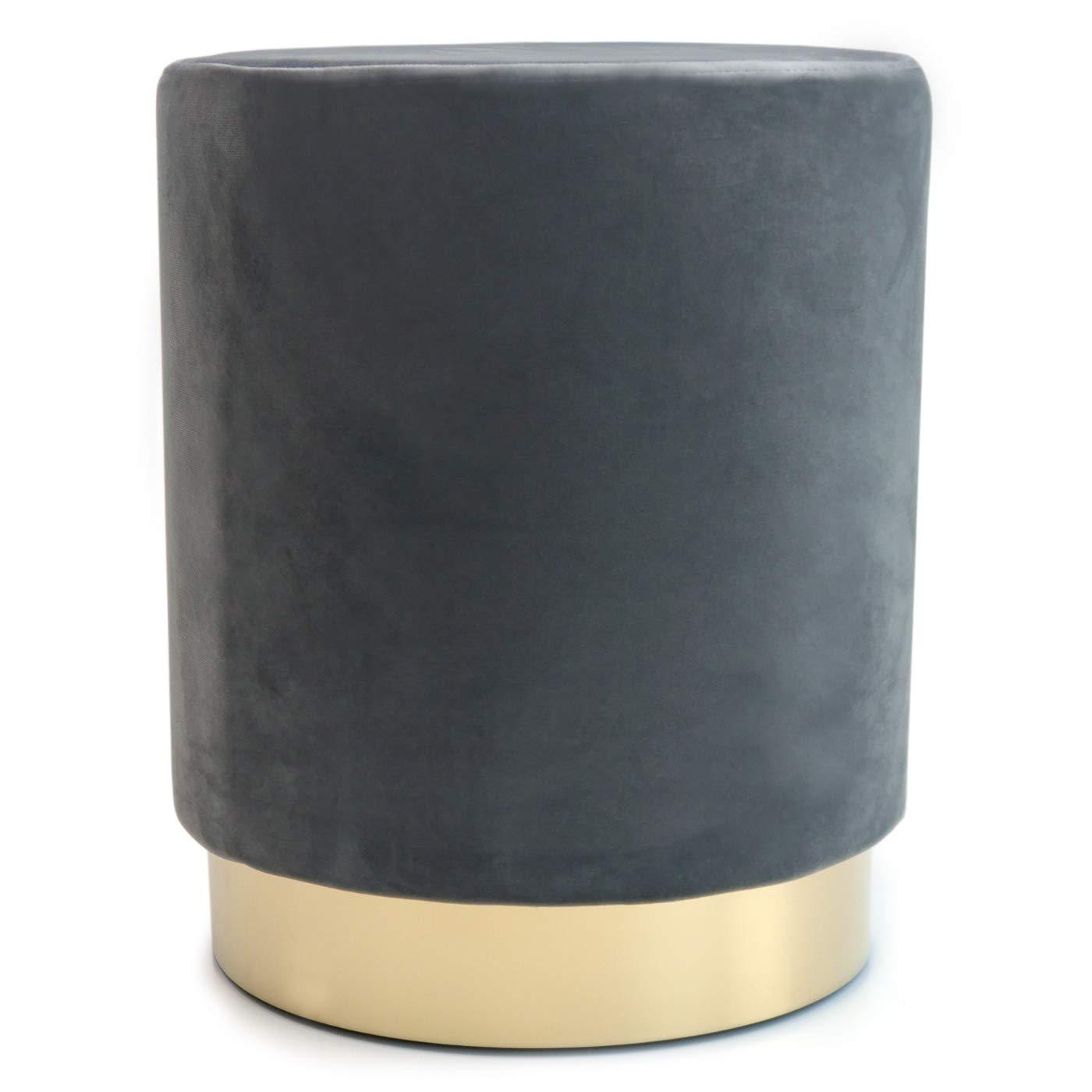 Werner Voss Samthocker Fußhocker Hocker 'SAMT' Polsterhocker grau Gold rund - Retro Design - Wohnzimmer Flur Möbel 42 cm