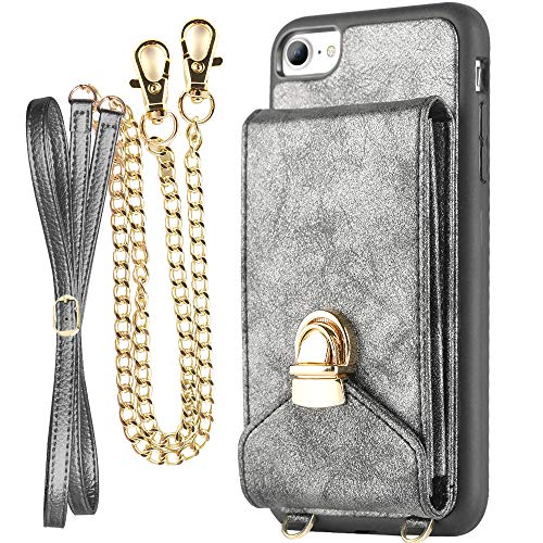 iPhone 7 Crossbody Purse for Women, ZVEdeng iPhone 7/8 Crossbody Bags Cell Phone Purse with Credit Card Holder, Dark Grey