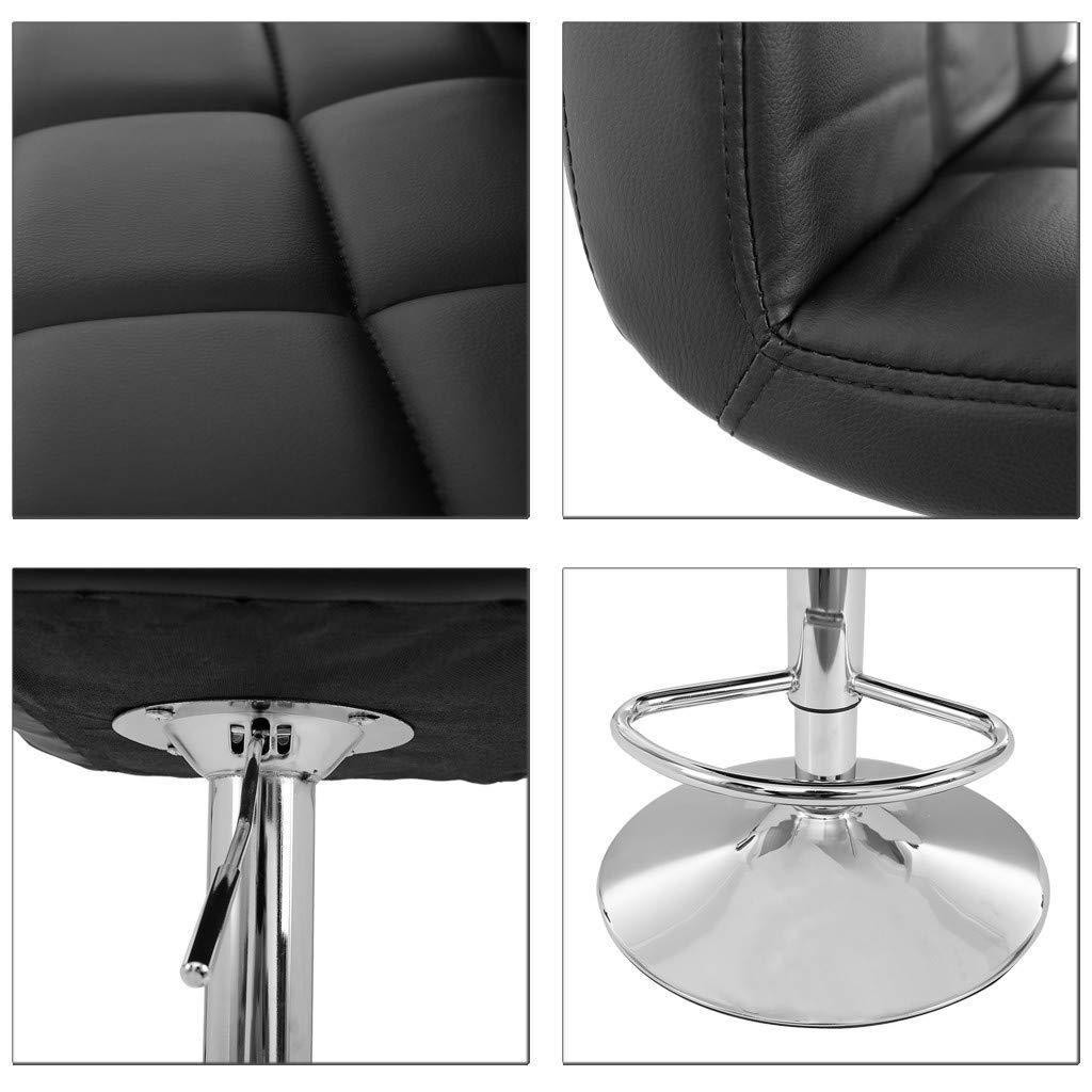 TADAMI Adjustable Bar Stools, Set of 2 Leather Bar Stools Counter Height Swivel Bar Stools Chair (Black) by TADAMI (Image #4)