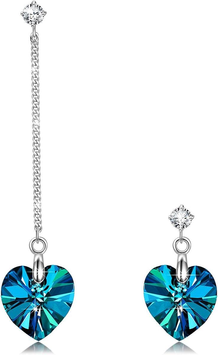Alex Perry Regalo para Ella, Deslumbrador Corazon 925 Plata Pendientes Aretes Mujeres Azul Electrico Cristales Swarovski, Caja de Regalo Elegante, Joyería para Ella