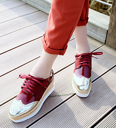 SHOWHOW Womens Trendy Perforated Lace Up Thick Sole Waterproof Sneakers Red IY3sMOR