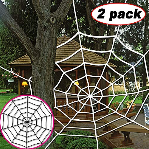 Halloween Giant Spider Web - 2 Packs 5 Feet Black White Super Stretch Cobweb Set Large Spider Webs Outdoor Indoor for Ghost House Home Yard Fake Best Halloween Party Decorations Props and Gifts