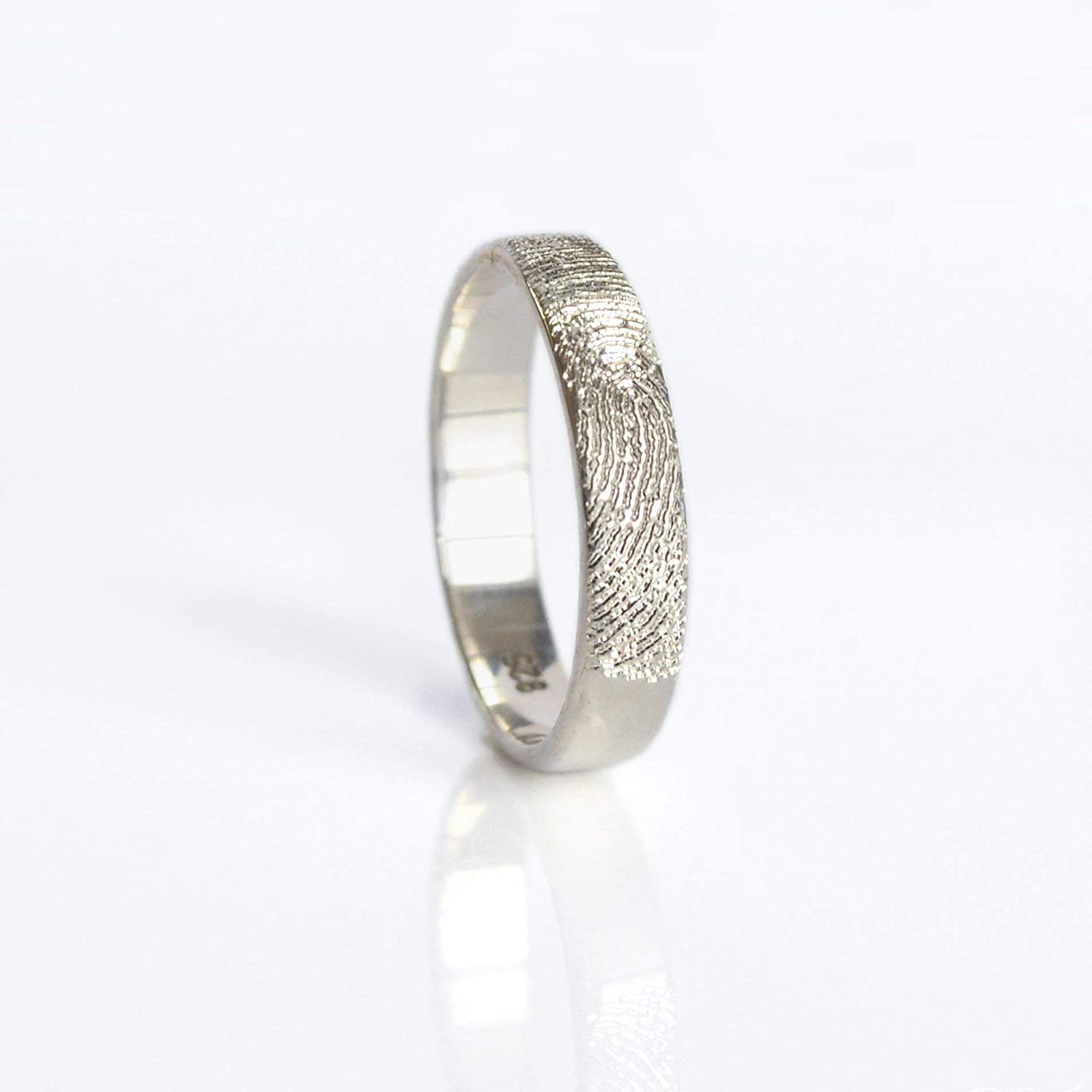 Actual Fingerprint or Handwriting Ring Engraved From Photograph - Available in Vermeil Gold, Vermeil Rose Gold, or Sterling Silver [R4] 617YM7soDsL