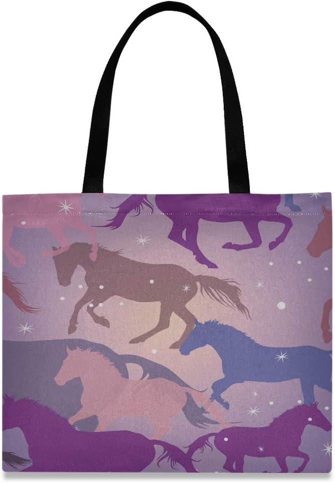 Bolsa de transporte de gran capacidad cuadrada Caballos coloridos y chispas en bolsas de compras reutilizables de color púrpura Bolsas de compras de 19.7 X 16.9 pulgadas para niñas Damas de compras