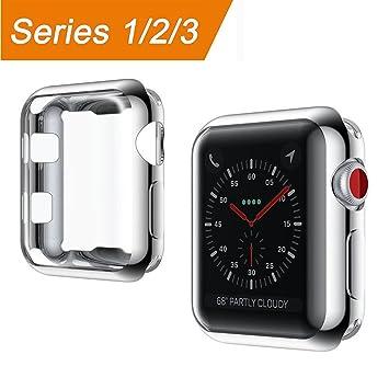 Apple Watch Funda 38mm, [Protector de Pantalla Completo] TPU Suave Cubierta Parachoques Protectora Carcasa Anti-Arañazos Ultra Delgado Case Cover para ...