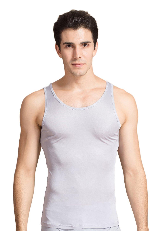 Men's Mulberry Silk Camisole Sleeveless Shirt Tank Silvery Grey XL