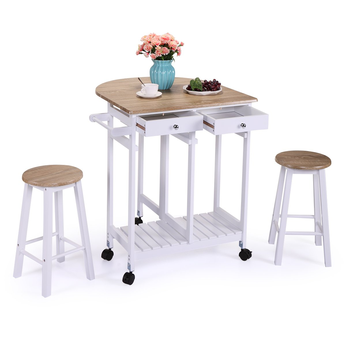LAZYMOON Oak Wood Drop Leaf Kitchen Table Trolley Island Cart Home Storage Table Set w/2 Stools
