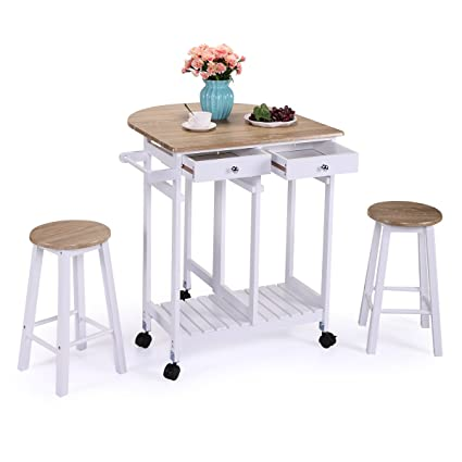 LAZYMOON Oak Wood Drop Leaf Kitchen Table Trolley Island Cart Home Storage Table Set W 2 Stools