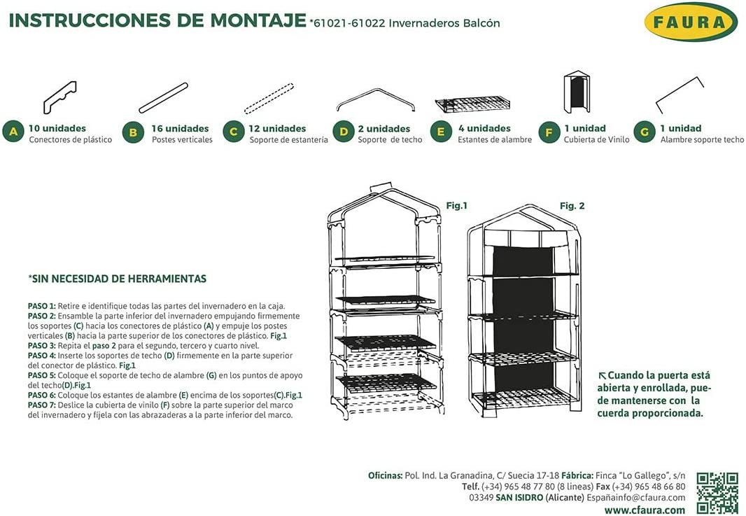 Faura 4 ESTANTES. (160x69x49 cm.) - Invernadero Balcón: Amazon.es ...