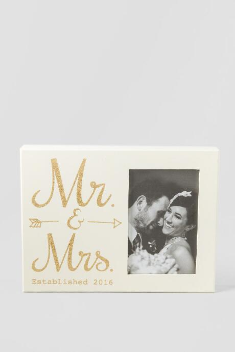Gold Glitter Wood Mr. and Mrs. 2016 Photo Frame | francesca's