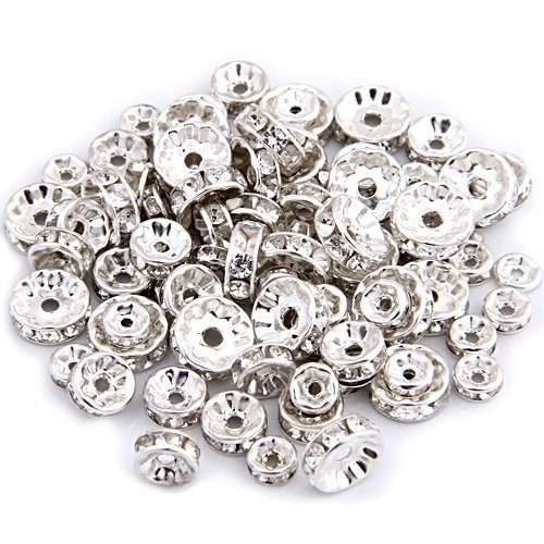 Strass DIY Deco Collier Bijoux 100pcs Perle Intercalaire Plaque dargent